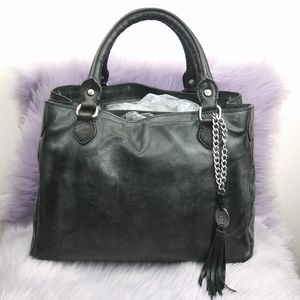 Olivia Harris black/grey leather satchel handbag